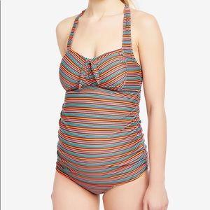 Beach Bump Maternity Vibrant Stripe Tankini Size M
